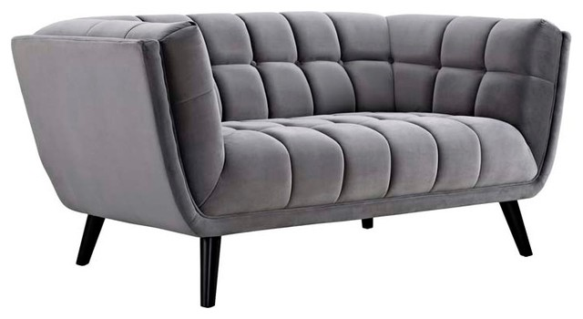 Bestow Velvet Loveseat, Gray.