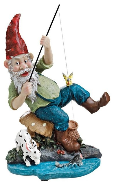 Gone Fishing Garden Gnome Statue   Rustic   Garden Statues And Yard Art    By Tapestry Zest