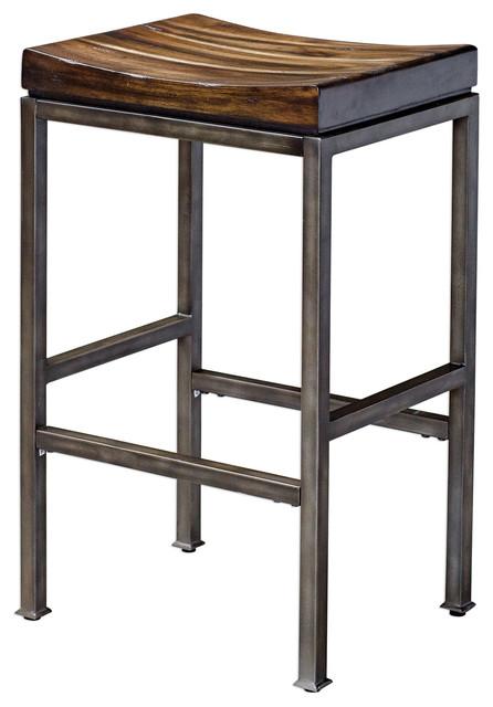 Magnificent Minimalist Industrial Wood Iron Bar Stool Counter Curved Seat Steel Walnut Loft Inzonedesignstudio Interior Chair Design Inzonedesignstudiocom