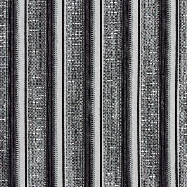 Black And Silver Contemporary Tweed Striped Upholstery Fabric By The Yard