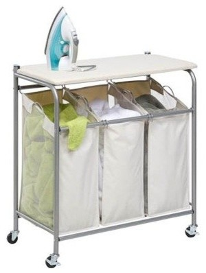 rolling ironing board and laundry sorter
