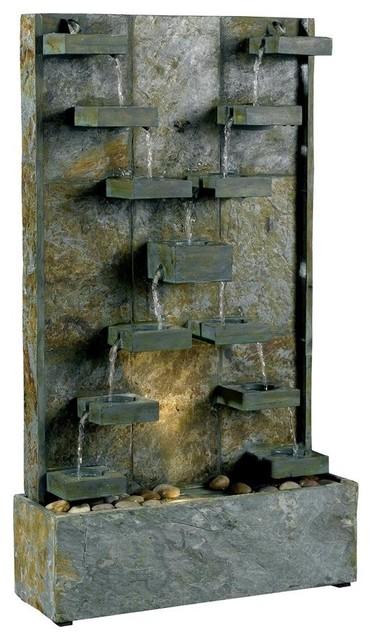 Natural Green Slate Indoor/Outdoor Floor Fountain - Rustic ...