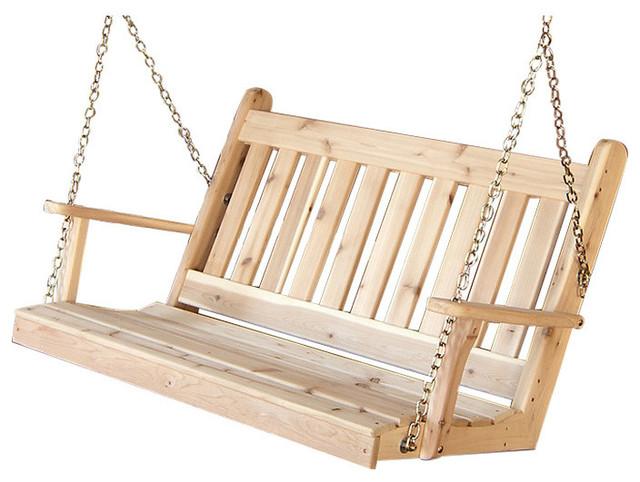 Cedar Traditional English Porch Swing Craftsman Porch