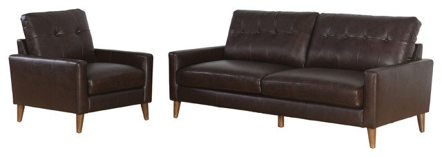 Chet Top Gran Leather 2-Piece Sofa And Armchair Set, Brown.