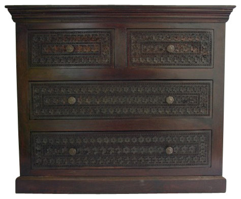 Carved Wooden Dresser Dark Walnut Stain Craftsman