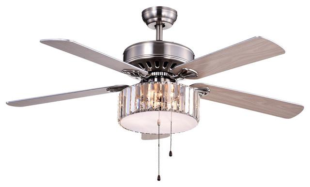 Kimalex Wood Nickel Crystal Ceiling Fan.