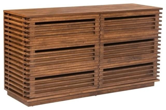 Brika Home 6-Drawer Dresser, Walnut.
