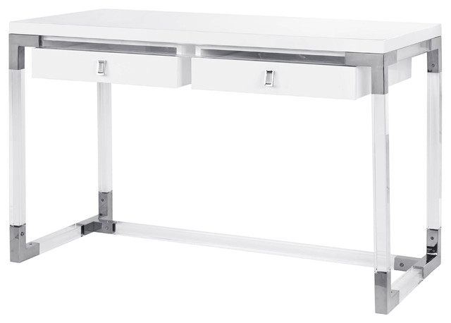 Pasargad&x27;s Firenze Contemporary Desk, Lacquer Top With Lucite/chrome Base.