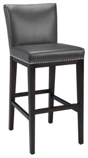 Artefac pembley leather stool with nailhead trim view in your room houzz - Leather bar stools with nailhead trim ...