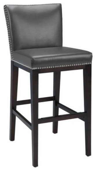 Pembley leather stool with nailhead trim transitional bar stools and counter stools by artefac - Leather bar stools with nailhead trim ...