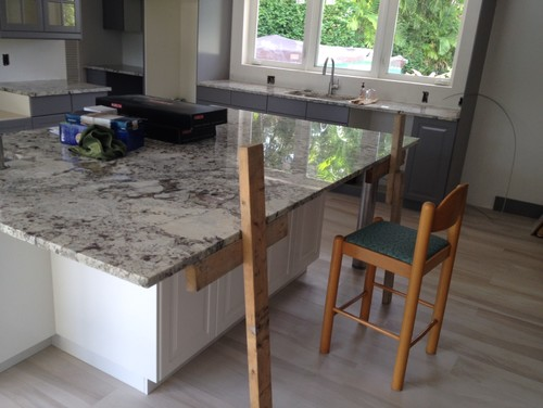 Granite island countertop overhang help for How to support granite countertop overhang