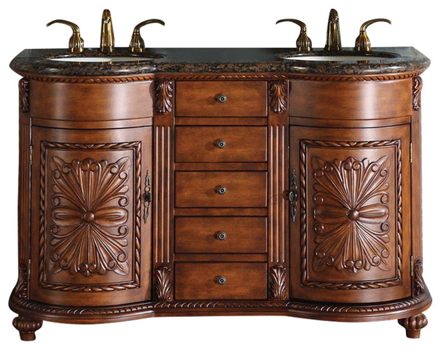 54 Quot Traditional Double Sink Bathroom Vanity Baltic Brown