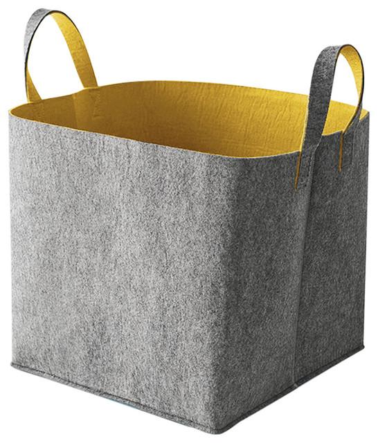 Superieur Elliott Storage Basket, Gray And Mustard Yellow