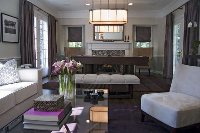 Contemporary Living Room With Pool Table Contemporary Living Room New York By Tami