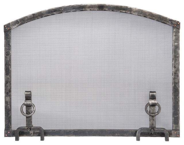 Forged Iron Arched Top Fireplace Screen With Andiron Feet, Large.