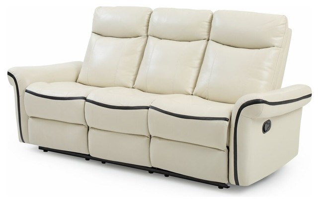 carla reclining sofa white with black trim faux leather sofas by glory furniture. Black Bedroom Furniture Sets. Home Design Ideas