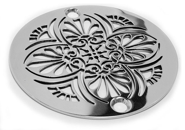 greek anthemion shower drain brushed stainless steel and nickel