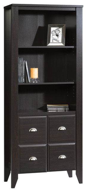 Shoal Creek Library Cabinet With Doors, Jamocha Wood Finish.