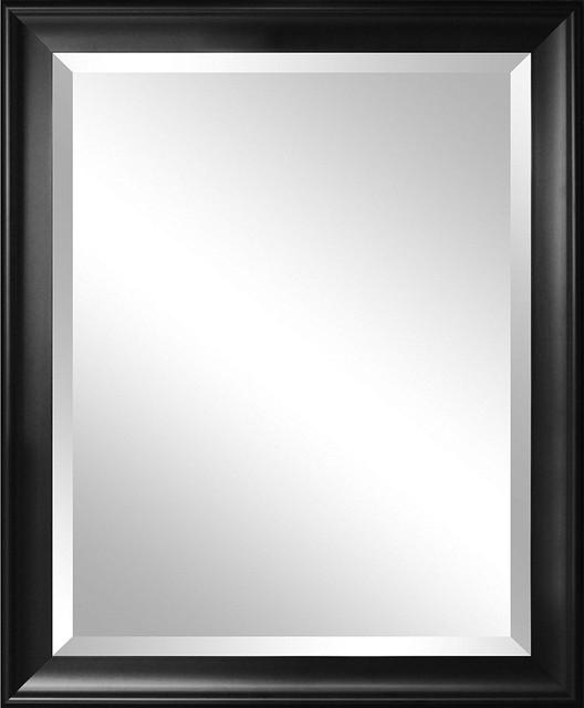 Beveled Glass Bathroom Wall Mirror With Black Frame 34x28 Inch Transitional Bathroom