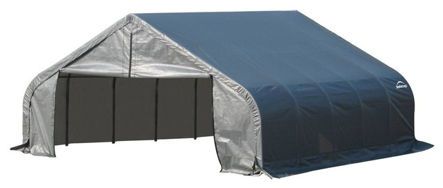 22&x27;x20&x27;x11&x27; Peak Style Shelter, Gray Cover.