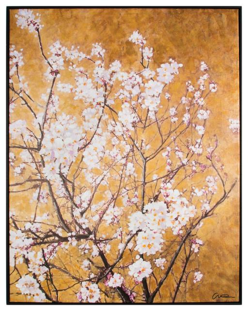 Oriental Blossom Framed Hpainted Cnvs