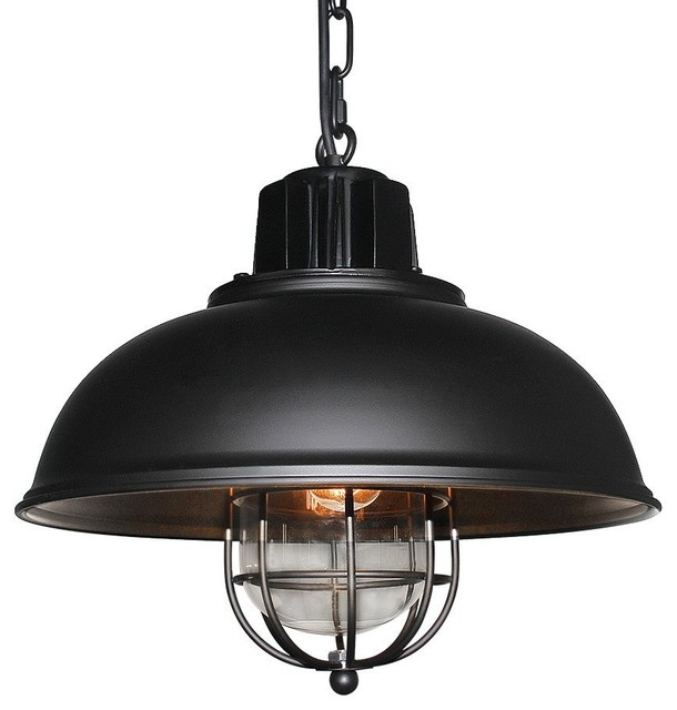 GoPioneers Vintage Industrial Iron Glass Pendant Light