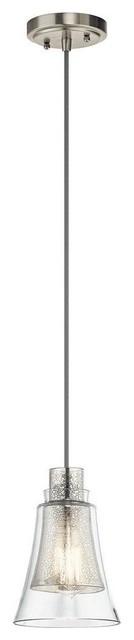 Mini Pendant 1-Light Brushed Nickel Evie.