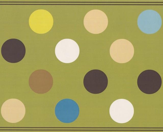 Brown Beige Dark Gray Blue White Polka Dot Olive Green Abstract Wallpaper Border