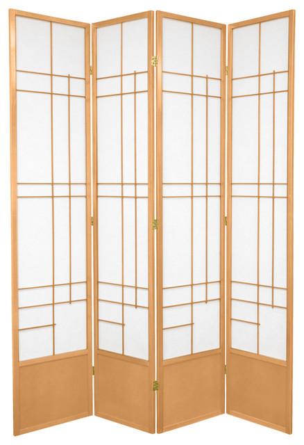 7' Tall Eudes Shoji Screen, Natural, 4 Panels