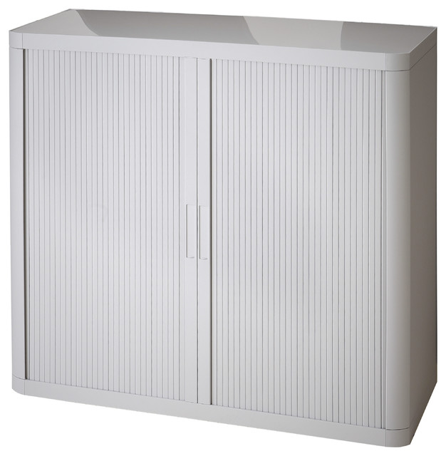 """Paperflow Easyoffice Storage Cabinet, 41"""" Tall With Two Shelves, Gray."""