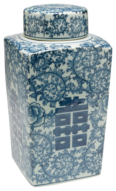 692292b58530 Antiqued Pale Green and Blue Square Jar With Lid - Asian ...