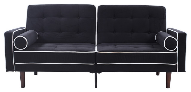 Mid Century Modern Two Tone Splitback Tufted Velvet Futon, Black.