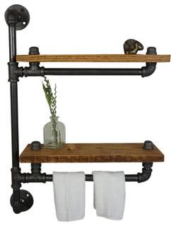 Farmhouse Bath Shelf With Towel Bar Industrial Bathroom Shelves By Loft Essentials