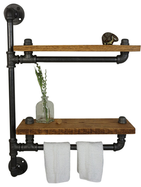 Ridgeview Bath Shelf With Towel Bar - Industrial - Display And Wall Shelves - by Loft Essentials