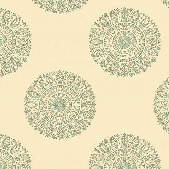 Aqua Sunburst Block Print Fabric