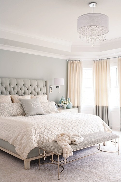 . Plain White Walls and Tray Ceiling in Master Bedroom