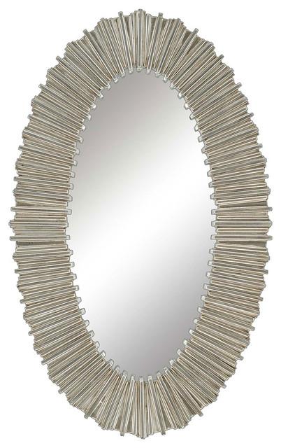 Silver Straws Oval Mirror.