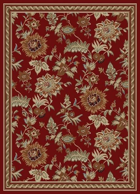 Dark Red Contemporary Floral Design Rug
