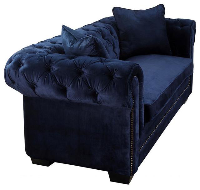 Norwalk navy velvet sofa midcentury indoor chaise for Blue velvet chaise lounge