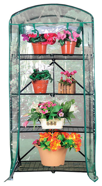 Foldable 2.3&x27;x5.25&x27; H 4-Tier Greenhouse With Transparent Pvc Cover.