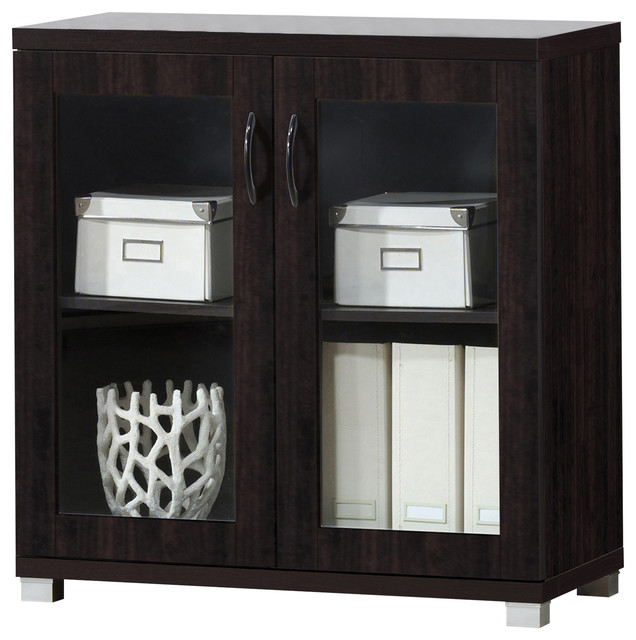 Genial Zentra And Dark Brown Sideboard Storage Cabinet With Glass Doors