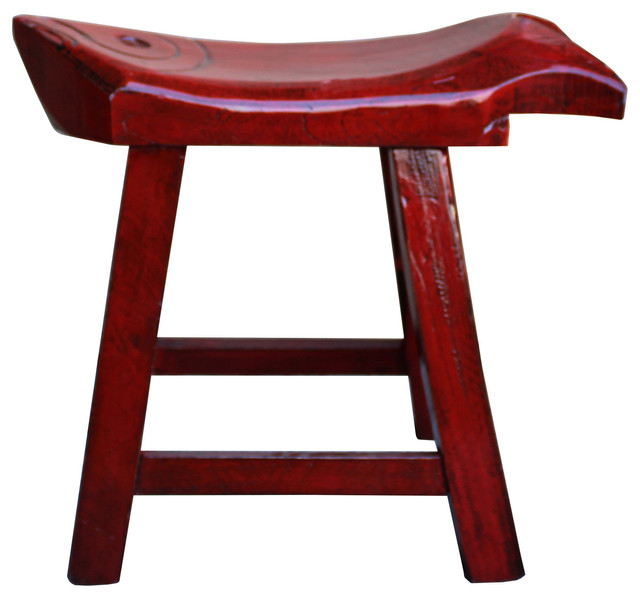 Oriental Handmade Rustic Distressed Red Fish Shape Wood Stool