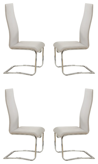 Wondrous Modern Faux Leather Upholstered Dining Chairs With Chrome Legs White White Camellatalisay Diy Chair Ideas Camellatalisaycom
