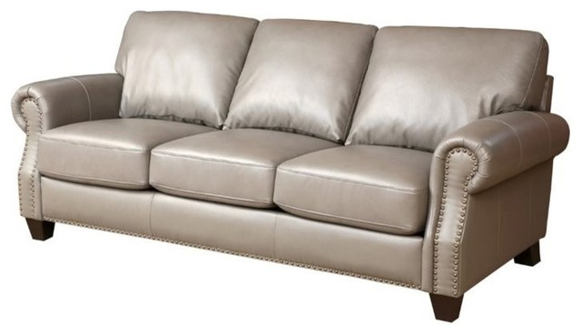 Abbyson Living Lenny Leather Sofa Gray Sofas By