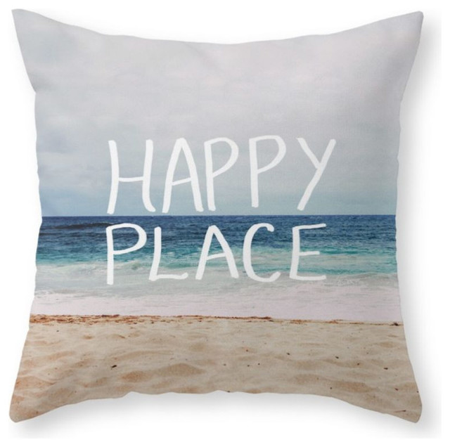 My Happy Place, Beach, Throw Pillow - Beach Style - Decorative Pillows - by Society6