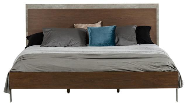 Nova Domus Conner Modern Dark Walnut And Concrete Eastern King Bed.
