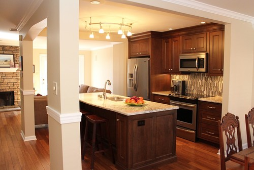 Townhouse Featured A Kitchen Between Living Room And Dining With Pass Through Windows On Both Sides Of Removed Walls Added Columns New