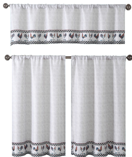 Bistro Beige Kitchen Curtain Set, Roosters With Black Checked Pattern, 3 Piece.