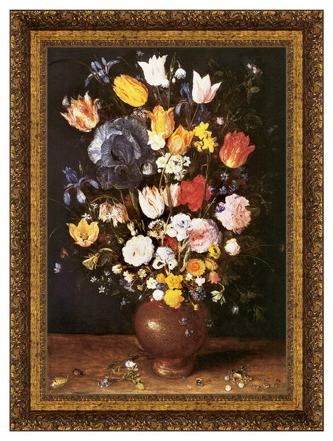 """bouquet Of Flowers 1608"" Stretched Canvas Replica, 34.5""x47""."
