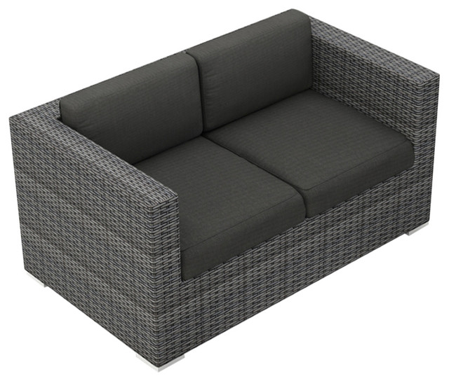 District Loveseat, Canvas Charcoal Cushions.